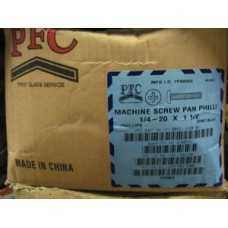 Machine Screw, 1/4-20 x 1 1/2 Pan Head Phillips, Zinc